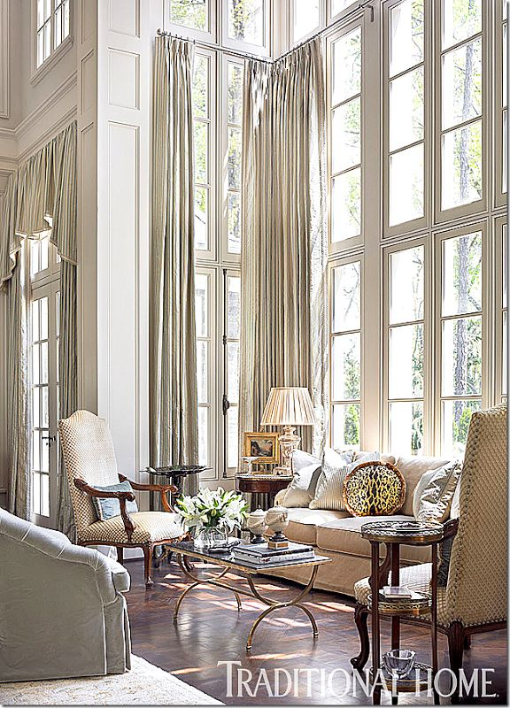 double height window treatments- trad home